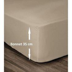 LOVELY HOME Drap Housse 100% Coton 160x200cm - Bonnet 35cm - Beige