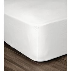LOVELY HOME Drap Housse 100% coton 160x200x30 cm blanc