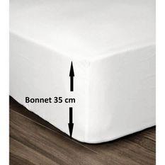 LOVELY HOME Drap Housse 100% Coton 180x200cm - Bonnet 35cm - Blanc