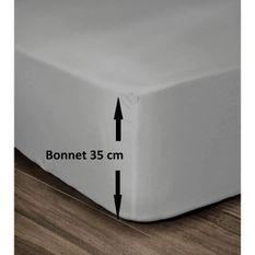 LOVELY HOME Drap Housse 100% Coton 180x200cm - Bonnet 35cm - Gris clair
