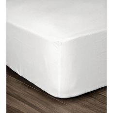LOVELY HOME Drap Housse 100% coton 180x200x25 cm blanc