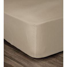 LOVELY HOME Drap Housse 100% coton 180x200x30 cm beige