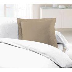 LOVELY HOME Lot de 2 Taies d'Oreillers 100% coton 63x63 cm - Beige