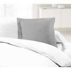 LOVELY HOME Lot de 2 Taies d'Oreillers 100% coton 63x63 cm - Gris clair