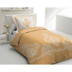 LOVELY HOME Parure de couette 140x200 cm + 2 taies d'oreiller 65x65 cm - 100% Coton BAROQUE - Ocre