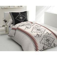 LOVELY HOME Parure de couette 140x200 cm + 2 taies d'oreiller 65x65 cm - 100% Coton KILIM - Noir