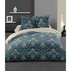 LOVELY HOME Parure de couette 140x200 cm + 2 taies d'oreiller 65x65 cm - 100% Coton VIENNE - Bleu nuit