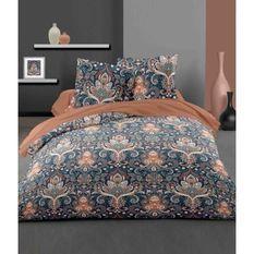 LOVELY HOME Parure de couette 140x200 cm + 2 taies d'oreiller 65x65 cm - 100% Coton VIENNE - Rouge