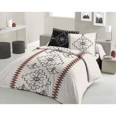 LOVELY HOME Parure de couette 200x200 cm + 2 taies d'oreiller 65x65 cm - 100% Coton KILIM - Noir