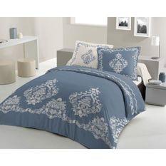 LOVELY HOME Parure de couette 240x260 cm + 2 taies d'oreiller 65x65 cm - 100% Coton BAROQUE - Bleu