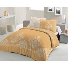 LOVELY HOME Parure de couette 240x260 cm + 2 taies d'oreiller 65x65 cm - 100% Coton BAROQUE - Ocre