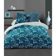 LOVELY HOME Parure de couette 240x260 cm + 2 taies d'oreiller 65x65 cm - 100% Coton MALMO - Bleu paon