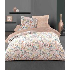 LOVELY HOME Parure de couette 240x260 cm + 2 taies d'oreiller 65x65 cm - 100% Coton MALMO - Rose poudré