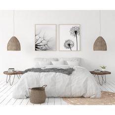 LOVELY HOME Parure de couette en 100% lin 220x300 cm + 1 drap housse 140 x 190 cm + 2 taies 65x65cm - Coloris Blanc