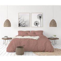 LOVELY HOME Parure de couette en 100% lin 220x300 cm + 1 drap housse 140 x 190 cm + 2 taies 65x65cm - Coloris Rose poudré