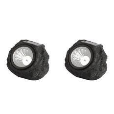 LUMI JARDIN Lot de 2 rochers solaires de jardin Rocky - A poser - LED - H 11 cm - Blanc