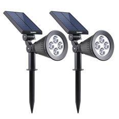 LUMISKY Pack de 2 Spots solaires extérieur étanches - 4 LEDs blanches - 200 Lm - Tete pivotante a 90°C