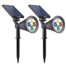 LUMISKY Pack de 2 Spots solaires extérieur étanches - 4 LEDs colorées - 200 Lm - Tete pivotante a 90°C