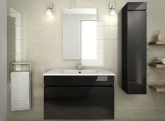 Salle de bain complète simple vasque L 80 cm - Noir verni
