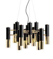 Lustre design acier noir et doré 13 ampoules Lina 60 cm