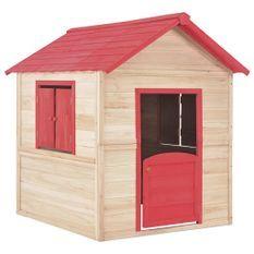 Maison de Jardin enfant bois naturel et rouge Joyka