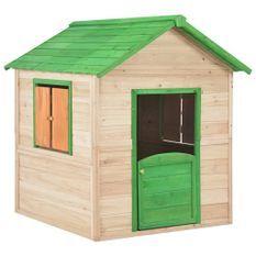 Maison de Jardin enfant bois naturel et vert Joyka