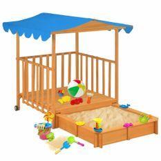 Maison de jeu d'enfants et bac à sable Bois de sapin Bleu UV50