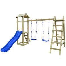 Maison de jeu et toboggan échelles balançoires 286x237x218 Pin