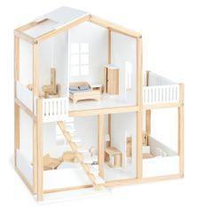 Maison de poupée pin massif clair et laqué blanc Ida