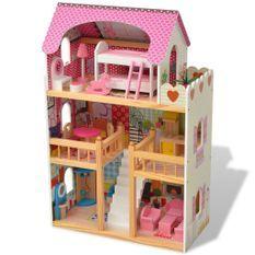 Maison de poupées à trois étages Bois 60 x 30 x 90 cm