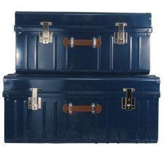 Malle métallique bleu avec poignée simili cuir - Lot de 2