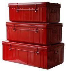 Malles acier rouge Dax - Lot de 3