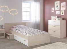 Chambre Enfant Complete style contemporain décor acacia clair et blanc - l 90 x L 190 cm
