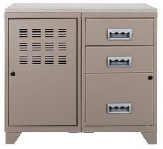 Meuble 1 porte 3 tiroirs métal taupe et plateau chêne naturel Naya L 80 x H 75 x P 40 cm - 25 kg