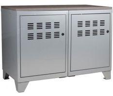 Meuble 2 portes métal gris alu et plateau chêne naturel Naya L 80 x H 60 x P 40 cm