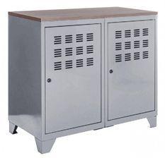 Meuble 2 portes métal gris et plateau chêne naturel Naya L 80 x H 75 x P 40 cm
