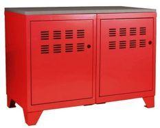 Meuble 2 portes métal rouge et plateau chêne naturel Naya L 80 x H 60 x P 40 cm