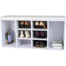 Meuble à chaussures 8 compartiments mélaminé blanc Kapan