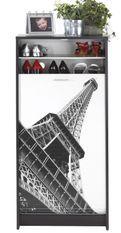 Meuble à chaussures noir imprimé Tour Eiffel 21 paires Shoot