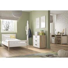 Meuble de chambre -Blanc - Camille - Lit 90x190 + Commode 3 tiroirs + Bureau 1 porte