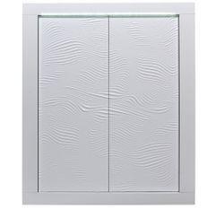 Meuble de rangement éclairage à Led 2 portes bois laqué blanc à reliefs Kala 121 cm