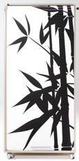 Meuble informatique à rideau taupe imprimé bambous Orga