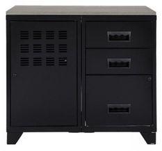 Meuble 1 porte 3 tiroirs métal noir et plateau chêne naturel Naya L 80 x H 75 x P 40 cm - 25 kg