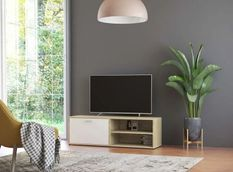 Meuble TV 1 porte 2 niches bois chêne et blanc Issero 120 cm