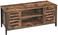 Meuble TV 2 portes 1 étagère marron vintage style industriel Persienne 110 cm