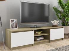Meuble TV 2 portes 2 niches bois chêne et blanc Cyna 140 cm