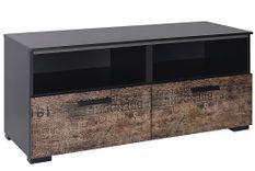 Meuble TV 2 portes 2 niches bois marron imprimé et noir Loft