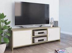 Meuble TV 2 portes bois blanc et chêne clair Maylin 120 cm
