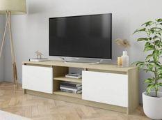 Meuble TV 2 portes bois blanc et chêne clair Conan 120 cm