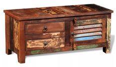 Meuble TV 2 tiroirs 1 porte bois massif recyclé Moust